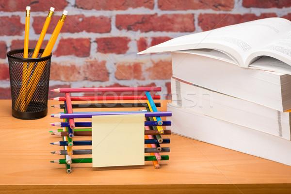 学用品 レンガの壁 図書 図書 学校 鉛筆 ストックフォト © Studio_3321