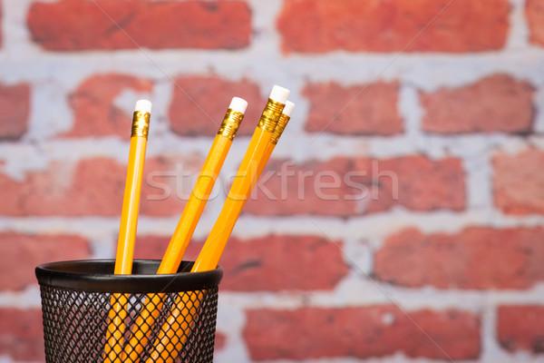 鉛筆 学校 レンガの壁 図書 図書 教育 ストックフォト © Studio_3321