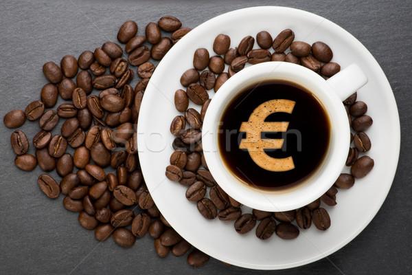 カップ コーヒー ユーロ 豆 お金 食品 ストックフォト © Studio_3321