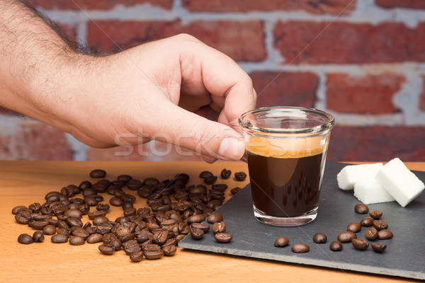カップ コーヒー 手 レンガの壁 男 ストックフォト © Studio_3321