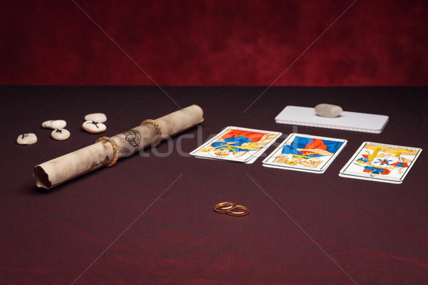 Clairvoyance equipment with weddings rings Stock photo © Studio_3321