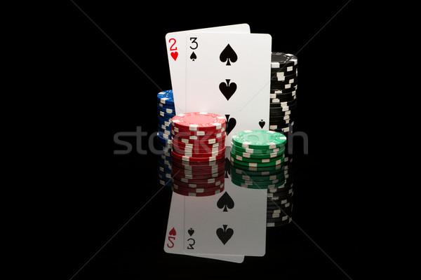 ポーカー カード 黒 カジノ 色 チップ ストックフォト © Studio_3321