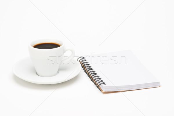ストックフォト: カップ · コーヒー · ノートブック · 白 · 食品 · 鉛筆