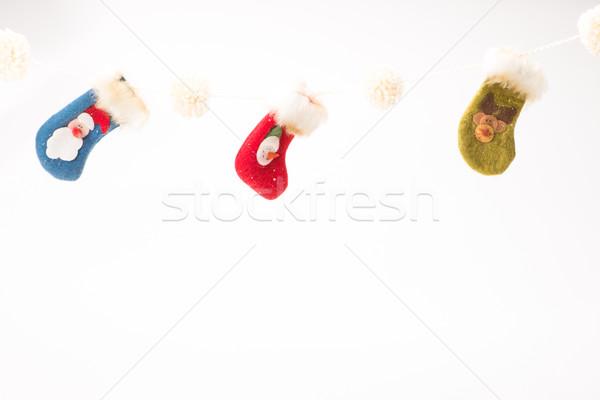 クリスマス ストッキング 白 壁 緑 赤 ストックフォト © Studio_3321