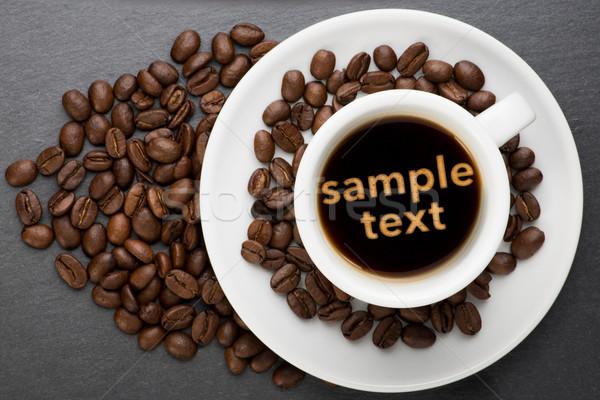 カップ コーヒー サンプル 文字 ポイント 豆 ストックフォト © Studio_3321