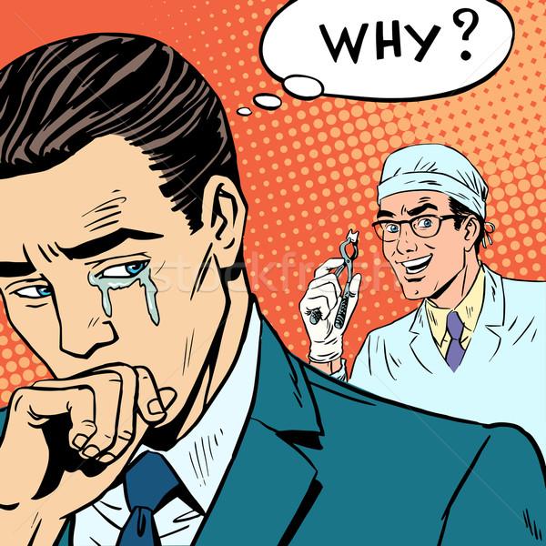 Stomatologia mężczyzna lekarz zębów płacz zdrowia muzyka Zdjęcia stock © studiostoks