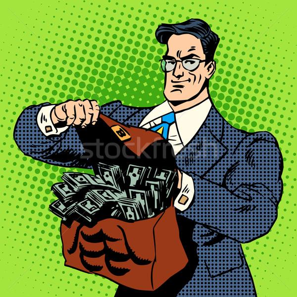 Super zakenman koffer geld business financieren Stockfoto © studiostoks