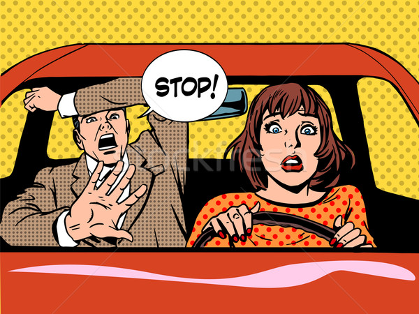stop woman driver driving school panic calm Stock photo © studiostoks
