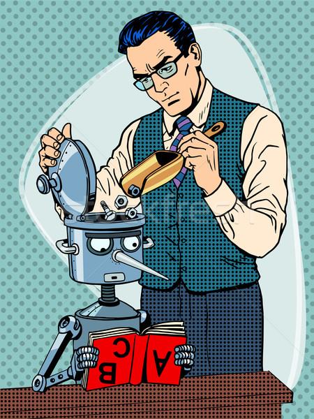Education scientist teacher robot student Stock photo © studiostoks