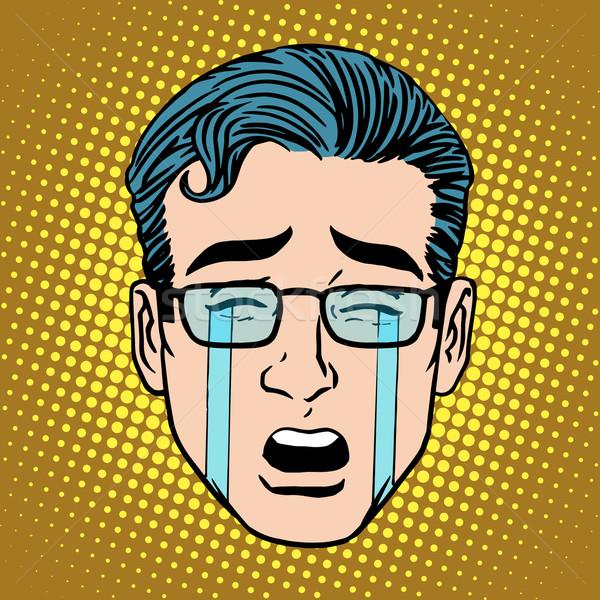 Płacz smutek człowiek twarz ikona symbol Zdjęcia stock © studiostoks