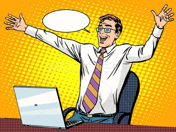 Stock fotó: üzletember · siker · dolgozik · laptop · pop · art · retró · stílus