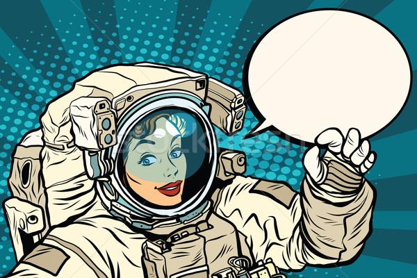 OK gesture female astronaut in a spacesuit Stock photo © studiostoks