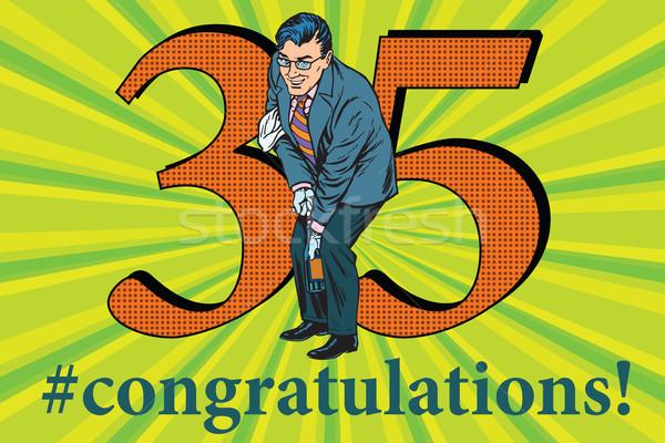 Félicitations anniversaire événement célébration heureux homme Photo stock © studiostoks