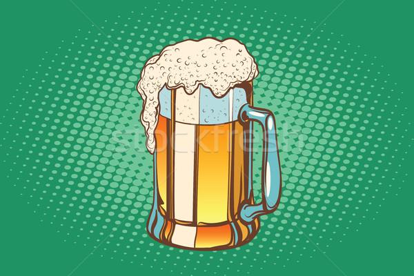 Kupa köpüklü bira pop art Retro içmek Stok fotoğraf © studiostoks