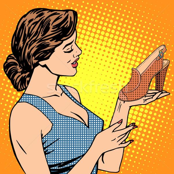 Kobieta buty towary pop art w stylu retro Zdjęcia stock © studiostoks