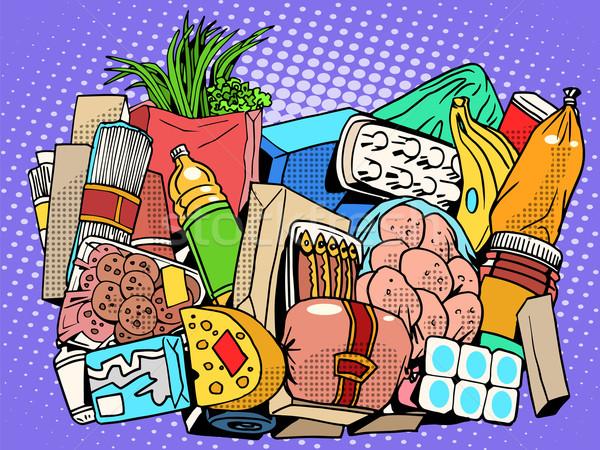 Set Produkte Essen Waren Pop-Art Retro-Stil Stock foto © studiostoks