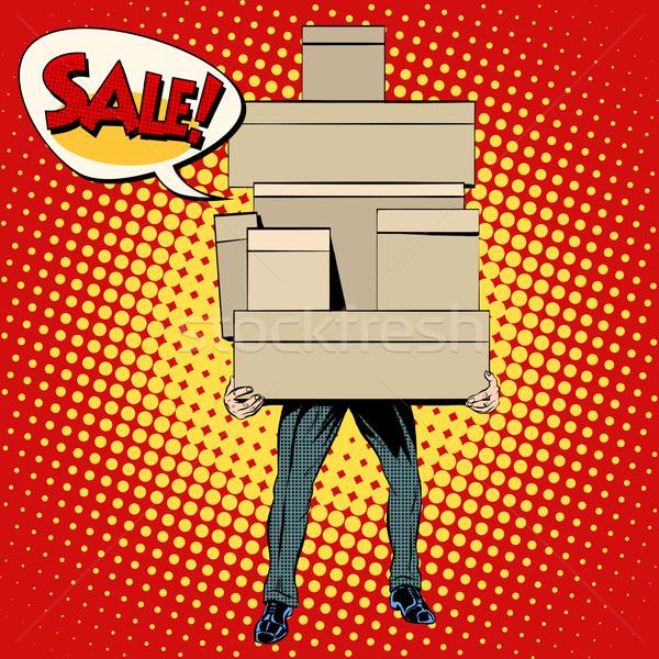 Vevő vásárlás vásár pop art retró stílus férfi Stock fotó © studiostoks