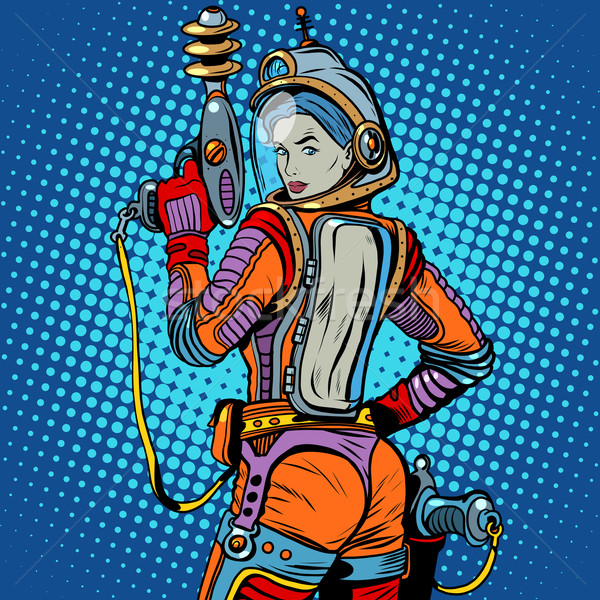 Girl space marine science fiction retro Stock photo © studiostoks