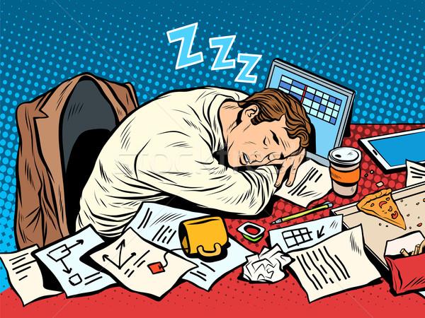 Uomo imprenditore dormire lavoro pop art stile retrò Foto d'archivio © studiostoks