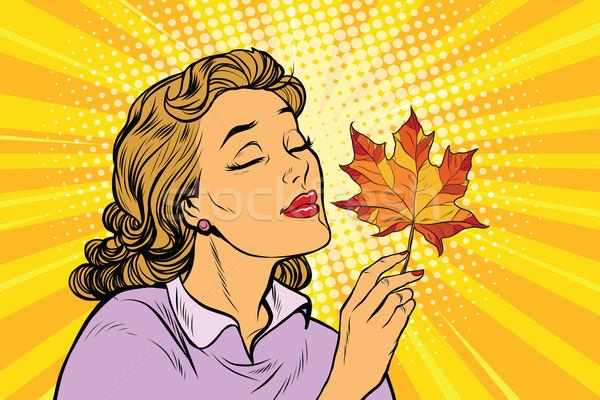 Ragazza autunno donna rosso foglia d'acero pop art Foto d'archivio © studiostoks