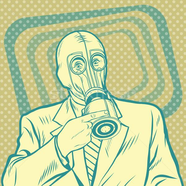 Pop art Retro adam gaz maskesi işaret el Stok fotoğraf © studiostoks