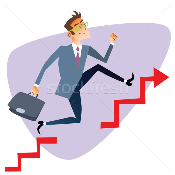 Businessman running up through gaps in the schedule of sales bus Stock photo © studiostoks