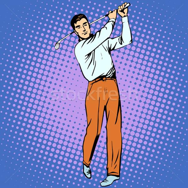 Jóképű férfi játszik golf retró stílus pop art sport Stock fotó © studiostoks