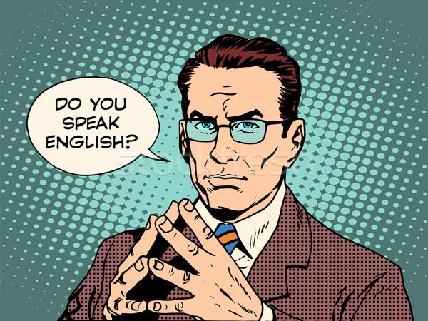 Professor falar inglês estilo retro educação Foto stock © studiostoks