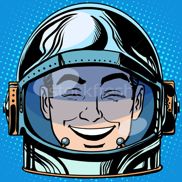 Foto stock: Emoticon · riso · cara · homem · astronauta · retro