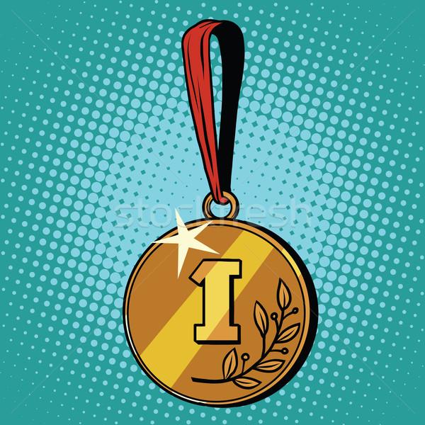 Medalha primeiro lugar estilo retro esportes prêmio Foto stock © studiostoks