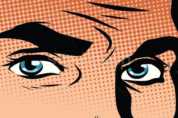 Rétro Homme yeux bleus pop art vecteur Rechercher Photo stock © studiostoks