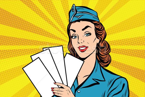 Lány retro utaskíserő fehér brosúra jegy Stock fotó © studiostoks