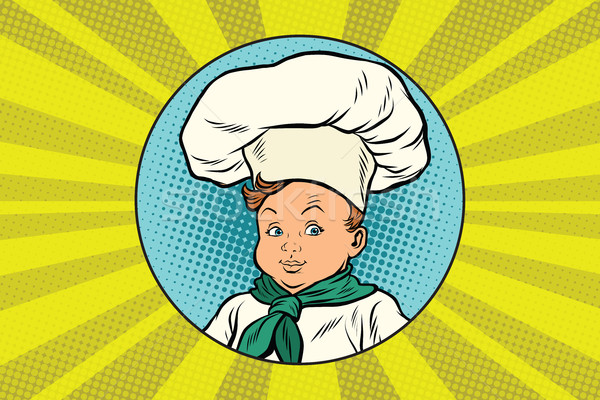Stock photo: boy in white chefs hat