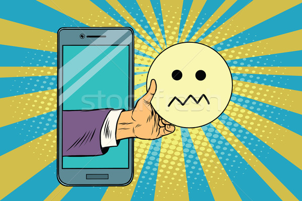 Stock photo: skepticism emoji emoticons in smartphone