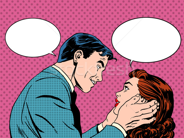 Para miłości dialog człowiek kobieta mówić Zdjęcia stock © studiostoks