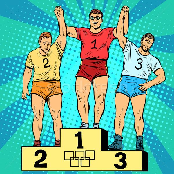 スポーツ 最初 2番目の 3番目の 場所 表彰台 ストックフォト © studiostoks