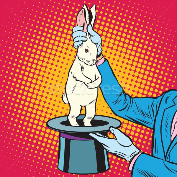 Biały królik ręce pop art w stylu retro cyrku Zdjęcia stock © studiostoks