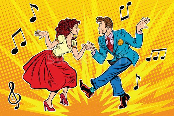 couple man and woman dancing, vintage dance Stock photo © studiostoks