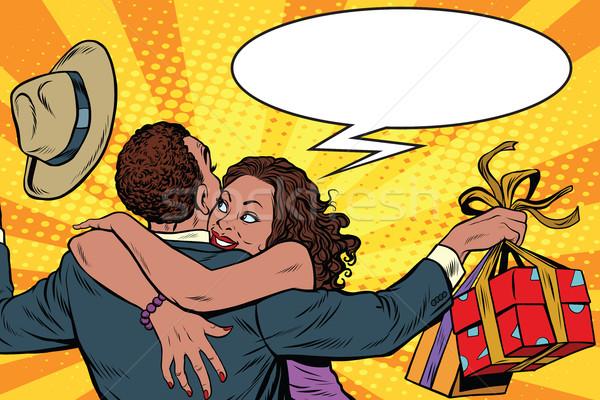 妻 感謝 夫 ギフト アフリカ系アメリカ人 カップル ストックフォト © studiostoks