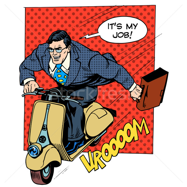 Businessman rushing to work on the scooter Stock photo © studiostoks