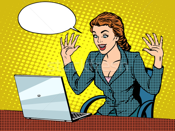 Happy business woman with laptop Stock photo © studiostoks