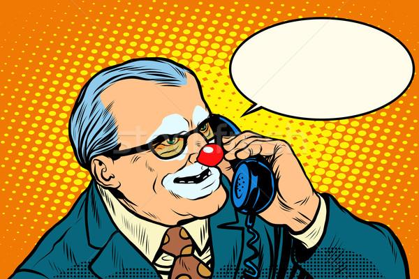 Boss клоуна телефон Поп-арт ретро-стиле зла Сток-фото © studiostoks
