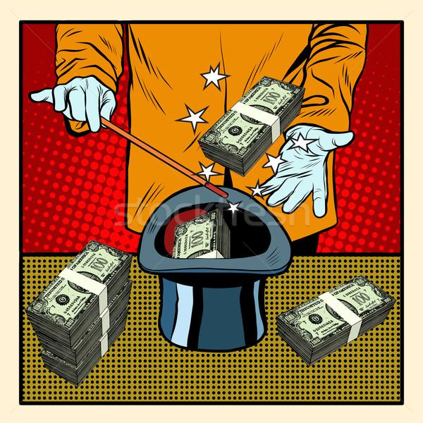 Illuzionista mágikus kalap pénz pop art retró stílus Stock fotó © studiostoks
