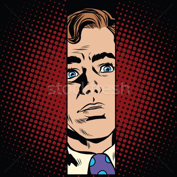 Férfi arc keskeny hézag pop art retró stílus Stock fotó © studiostoks