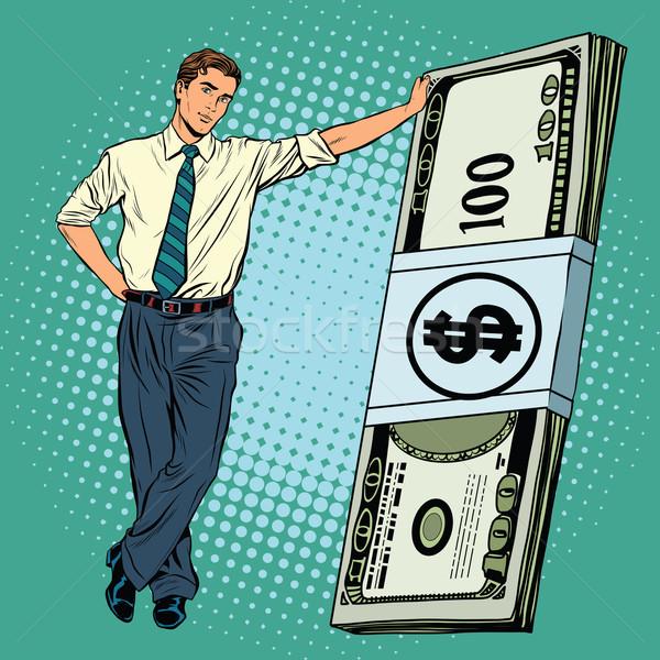 Hombre de negocios dinero arte pop retro vector financieros Foto stock © studiostoks