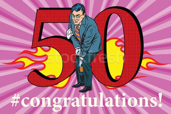Parabéns 50 aniversário evento celebração feliz Foto stock © studiostoks