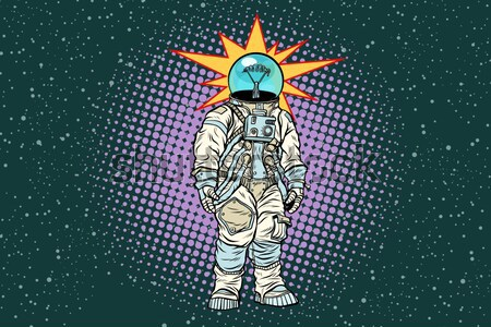 Cosmonaut knocks head on the wall. Dream of mankind Stock photo © studiostoks