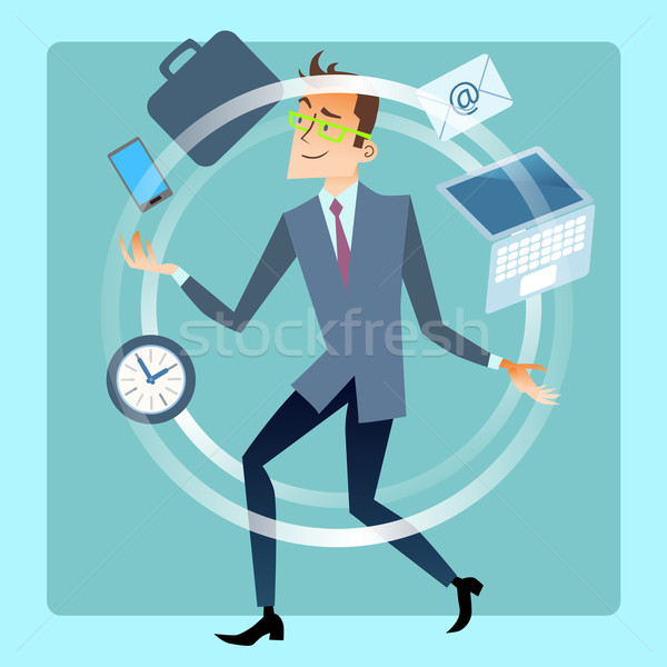 Businessman juggler planning time work Stock photo © studiostoks