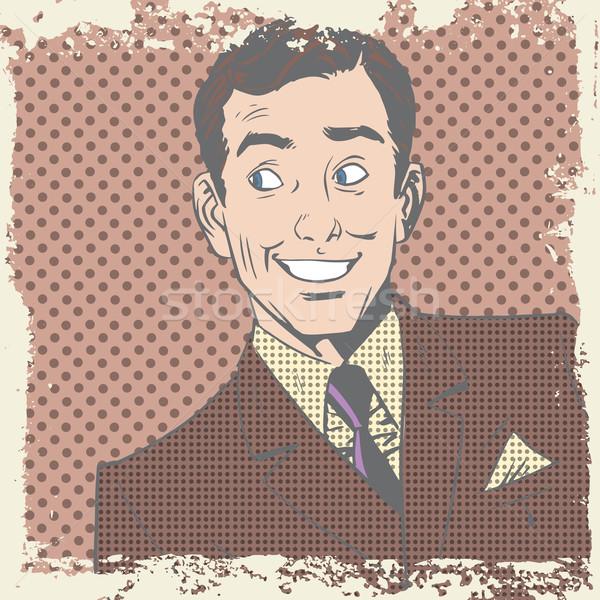 Smiling man lover flirts pop art comics retro style Halftone Stock photo © studiostoks