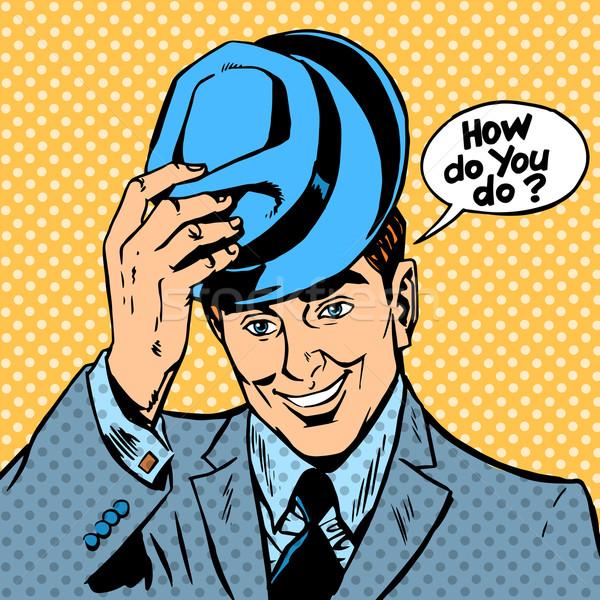 Groet man hoed gezicht vintage bubble Stockfoto © studiostoks